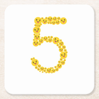 5th Birthday 2012 Emoji Funny Cute for Kids Square Paper Coaster