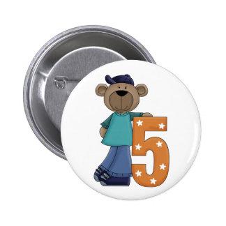 5th. Birthday Bear Fun Pin Button
