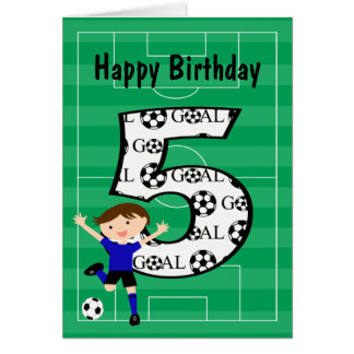 5th Birthday Blue and Black Soccer Goal Card