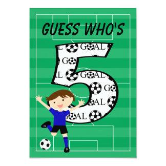 "5th Birthday Blue and Black Soccer Goal v2 5"" X 7"" Invitation Card"