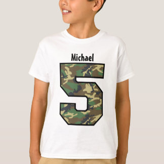 5th Birthday Boy Camo Four Year Custom Name V007E T-Shirt