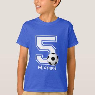 8d1c02512e2 5th Birthday boy soccer personalized-2 T-Shirt