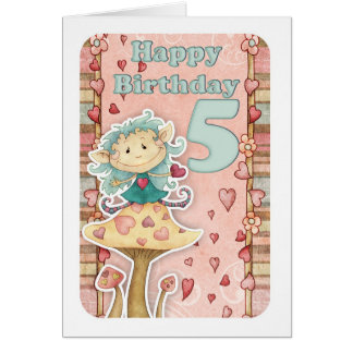 5th birthday card with cute little elf