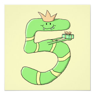 5th Birthday Cartoon, green. Personalized Invitations