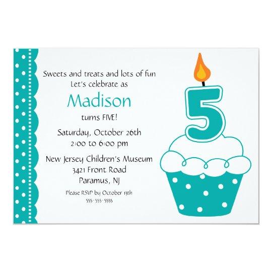 5th Birthday Cupcake Invitation
