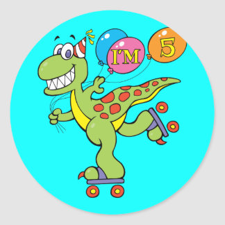 5th Birthday Dinosaur Classic Round Sticker