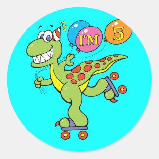 5th Birthday Dinosaur Round Sticker