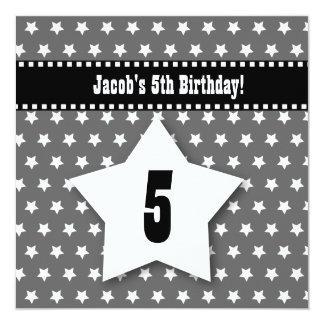 5th Birthday FIVE Year Old Kid Silver Stars V01D Invitation