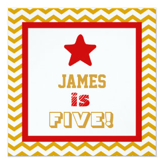 5th Birthday Five Year Old Square Frame Invite