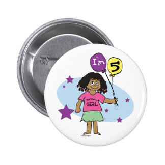 5th Birthday Girl Pinback Button