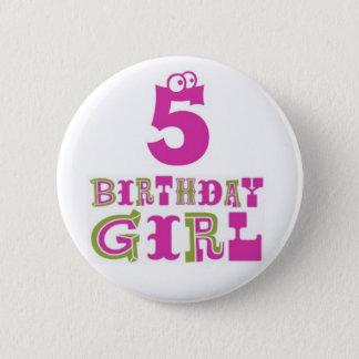 5th Birthday Girl Button Badge