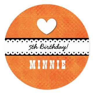 "5th Birthday Girl Heart and Scalloped Ribbon A10Z 5.25"" Square Invitation Card"