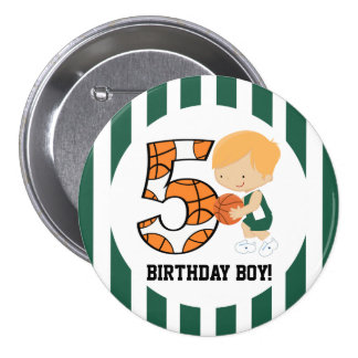 5th Birthday Green and White Basketball Player v2 7.5 Cm Round Badge