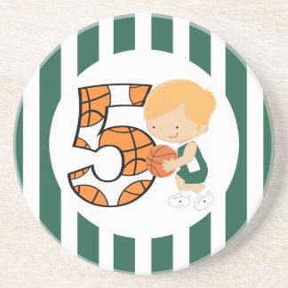 5th Birthday Green and White Basketball Player v2 Coaster