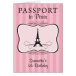 5TH Birthday Paris Passport Invitation Cards