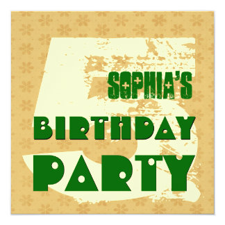 5th Birthday Party 5 Year Old Cream Flower Pattern 13 Cm X 13 Cm Square Invitation Card