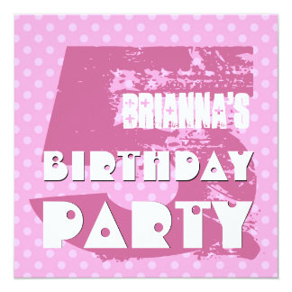 5th Birthday Party 5 Year Old Pink Polka Dots Custom Announcement