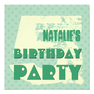 5th Birthday Party 5 Year Old Teal and Cream Polka Invitation