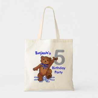 5th Birthday Party Bears Goodie Budget Tote Bag