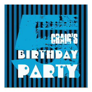 """5th Birthday Party Grunge and Stripes Z05P 5.25"""" Square Invitation Card"""
