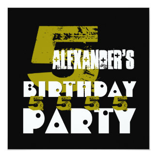 """5th Birthday Party Grunge Five Year Old G05Z 5.25"""" Square Invitation Card"""