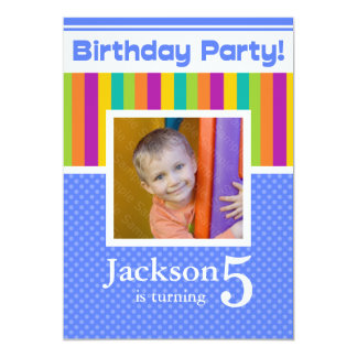 "5th Birthday Party Invitations Fun Neon Boy 5"" X 7"" Invitation Card"