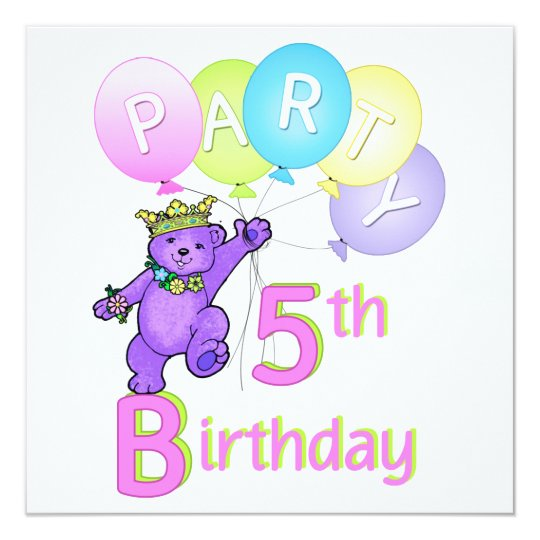 5th Birthday Party Princess Bear Balloons Card