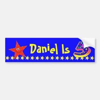 5th Birthday Party Red Smiley Star Decoration Car Bumper Sticker