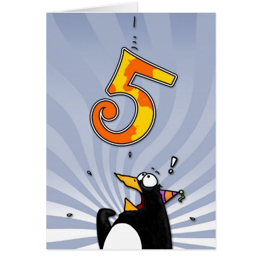 5th Birthday - Penguin Surprise Cards