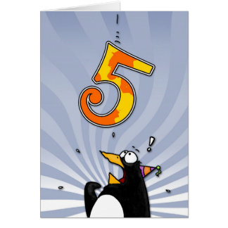 5th Birthday - Penguin Surprise Greeting Card