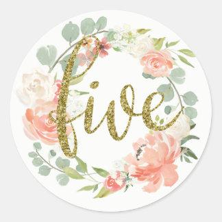 5th Birthday Pink Gold Floral Wreath Sticker