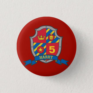 5th Birthday red yellow knights shield age button