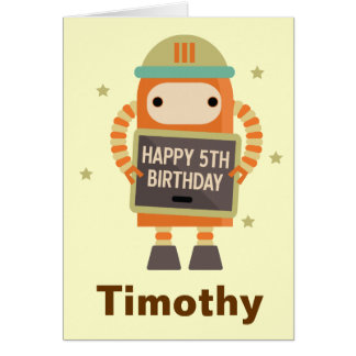 5th Birthday Robot vintage personalized card