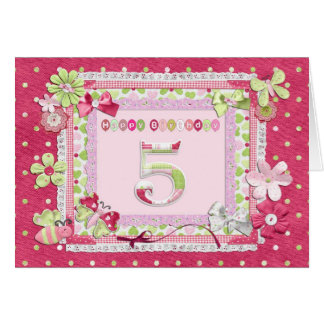5th birthday scrapbooking style greeting card