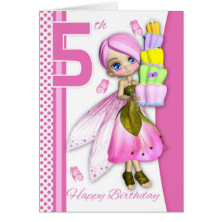 5th Birthday Tipsy Cake Fantasy Fairy Cutie Pie Greeting Card
