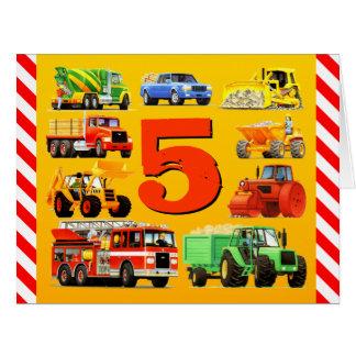 5th Birthday Trucks Big Greeting Card