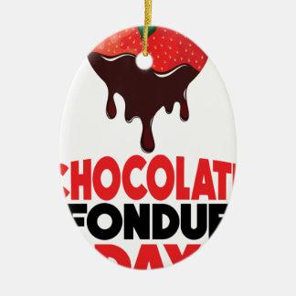 5th February - Chocolate Fondue Day Ceramic Ornament