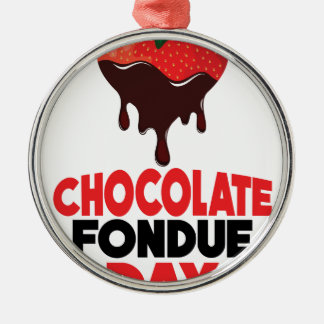 5th February - Chocolate Fondue Day Silver-Colored Round Decoration