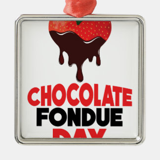 5th February - Chocolate Fondue Day Silver-Colored Square Decoration