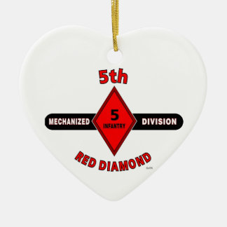 "5TH INFANTRY DIVISION (MECHANIZED)""RED DIAMOND"" CERAMIC ORNAMENT"