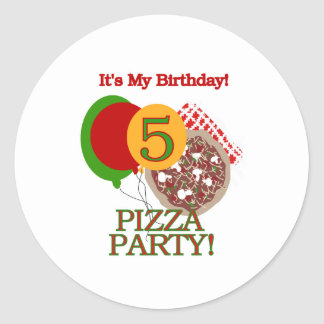 5th Pizza Party Birthday Classic Round Sticker