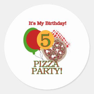 5th Pizza Party Birthday Round Sticker