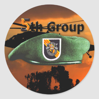 5th Special Forces Group Green Berets SF SFG Classic Round Sticker