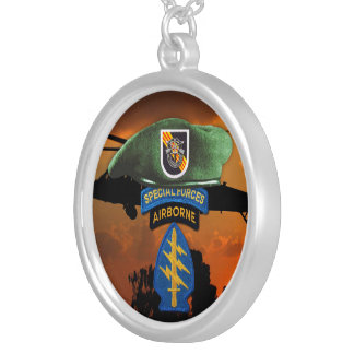 5th Special Forces Group Green Berets SF SFG Vets Silver Plated Necklace