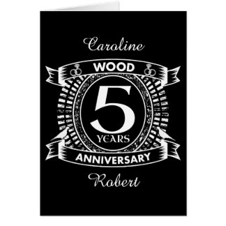 5th wedding anniversary distressed crest card