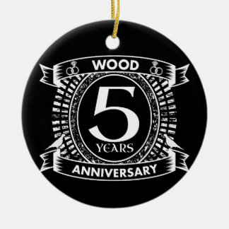 5th wedding anniversary distressed crest ceramic ornament