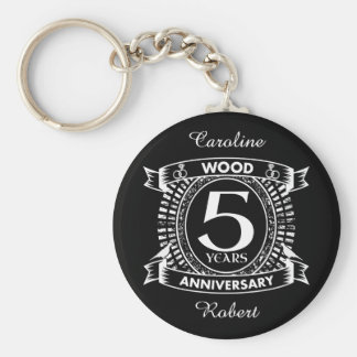 5th wedding anniversary distressed crest key ring