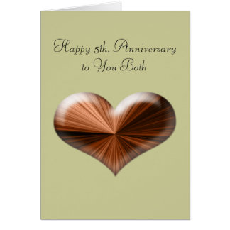5th. Wedding Anniversary Greeting Card with verse