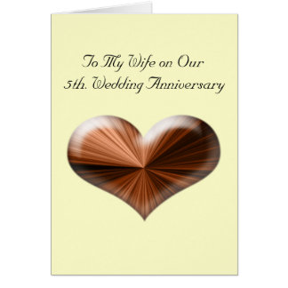 5th. Wedding Anniversary Greeting Card with Wooden