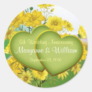 5th Wedding Anniversary Party Wildflower Classic Round Sticker